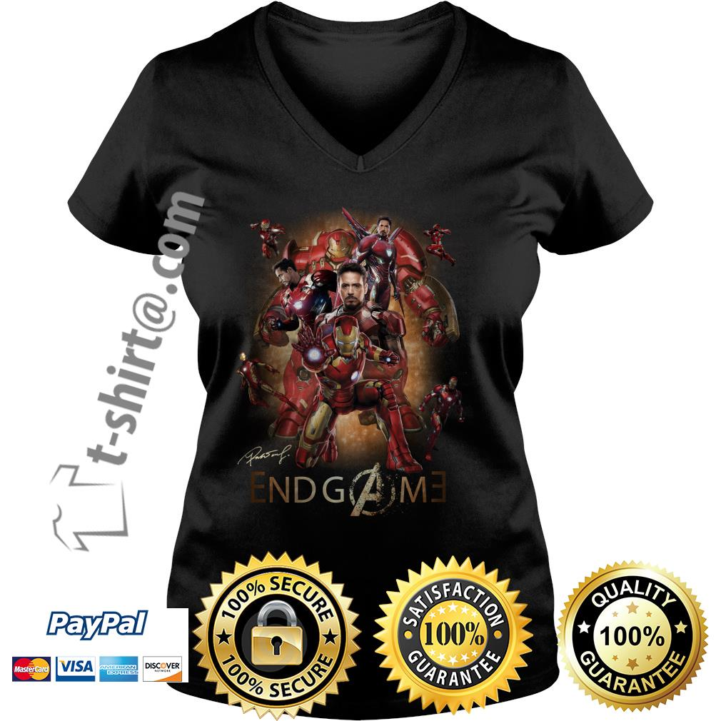 Marvel Avenger endgame Tony Stark signature V-neck T-shirt