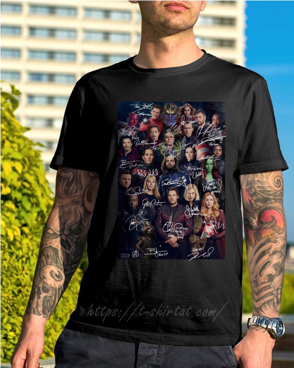 Marvel Avengers endgame poster signature shirt