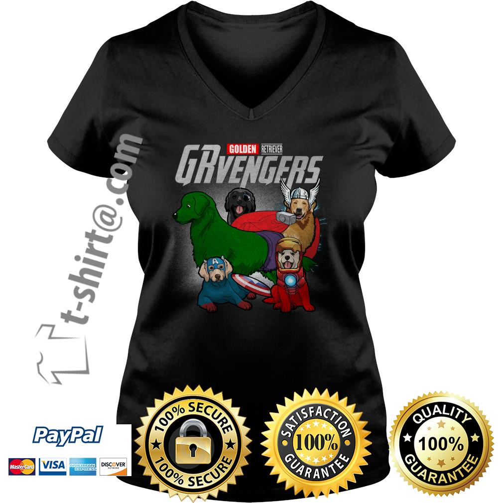Marvel Golden Retriever GRvengers V-neck T-shirt