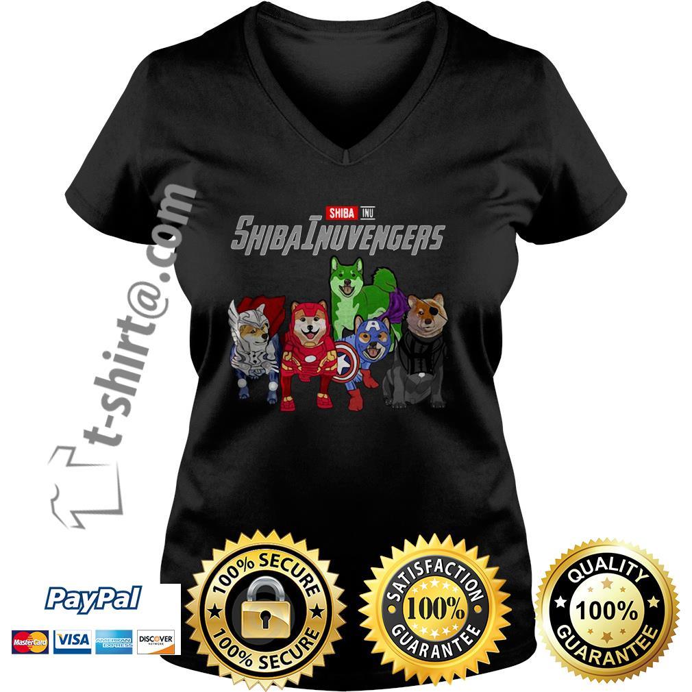 Marvel Shiba Inu ShibaInuvengers V-neck T-shirt
