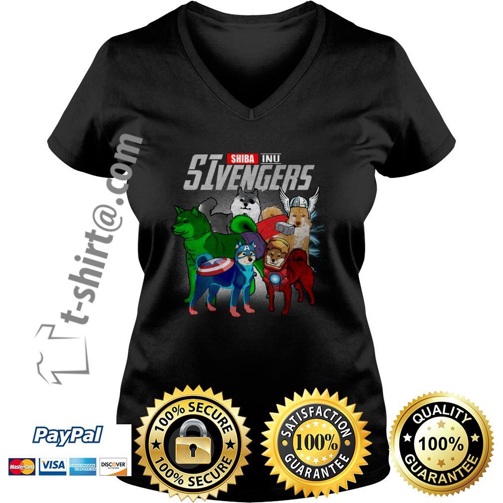 Marvel Shiba Inu SIvengers V-neck T-shirt