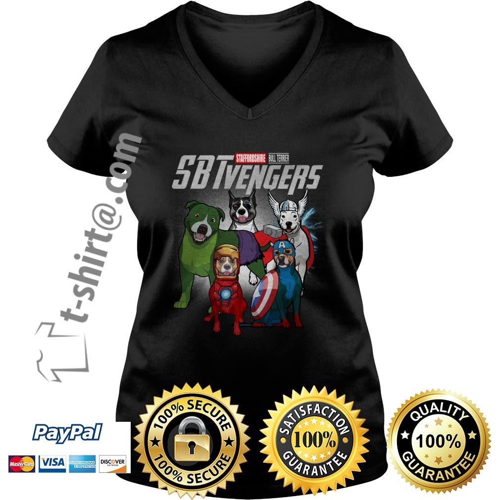 Marvel Staffordshire Bull Terrier SBTvengers  V-neck T-shirt