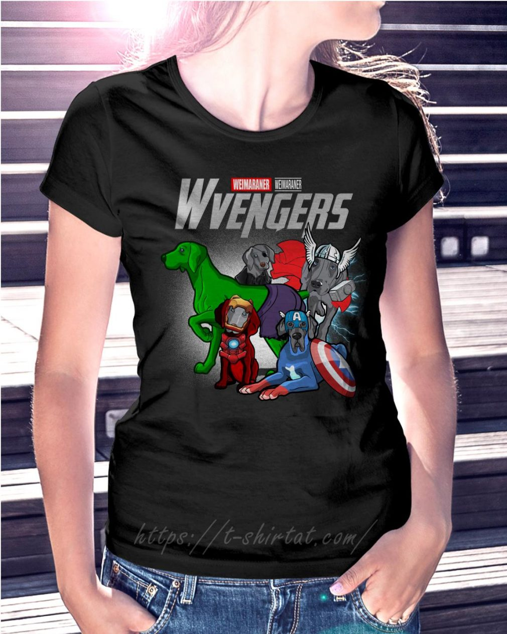 Marvel Weimaraner Wvengers Ladies Tee
