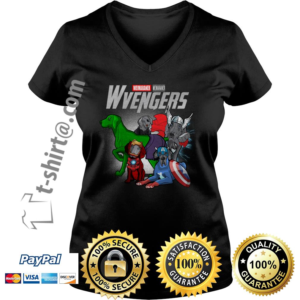 Marvel Weimaraner Wvengers V-neck T-shirt