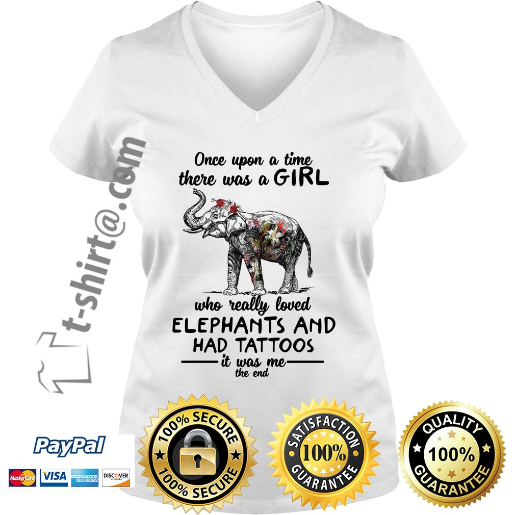 Once upon a time there was a girl who really loved elephants and had tattoos V-neck T-shirt