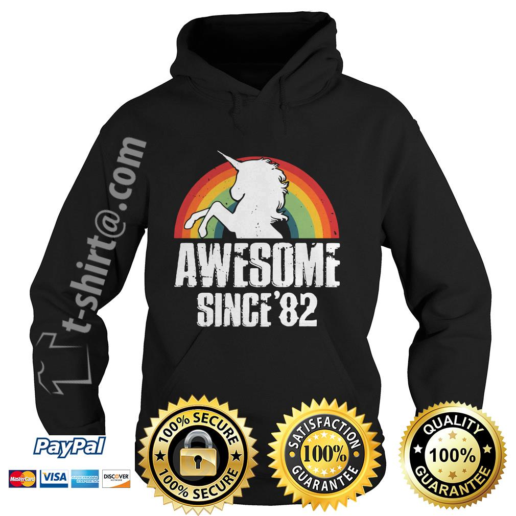 Rainbow Unicorn awesome since 1982 37th birthday Hoodie