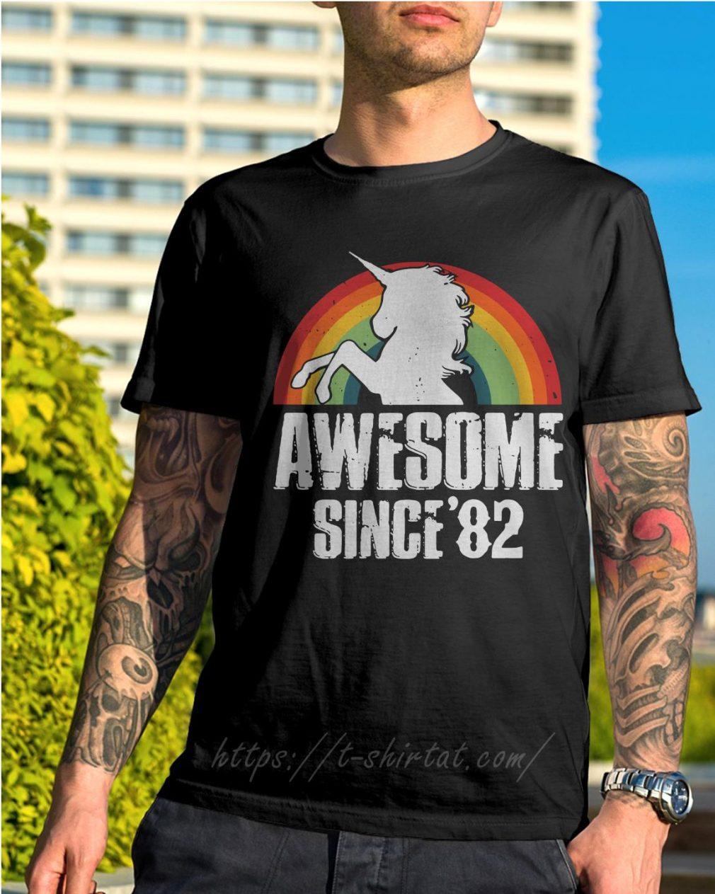Rainbow Unicorn awesome since 1982 37th birthday shirt