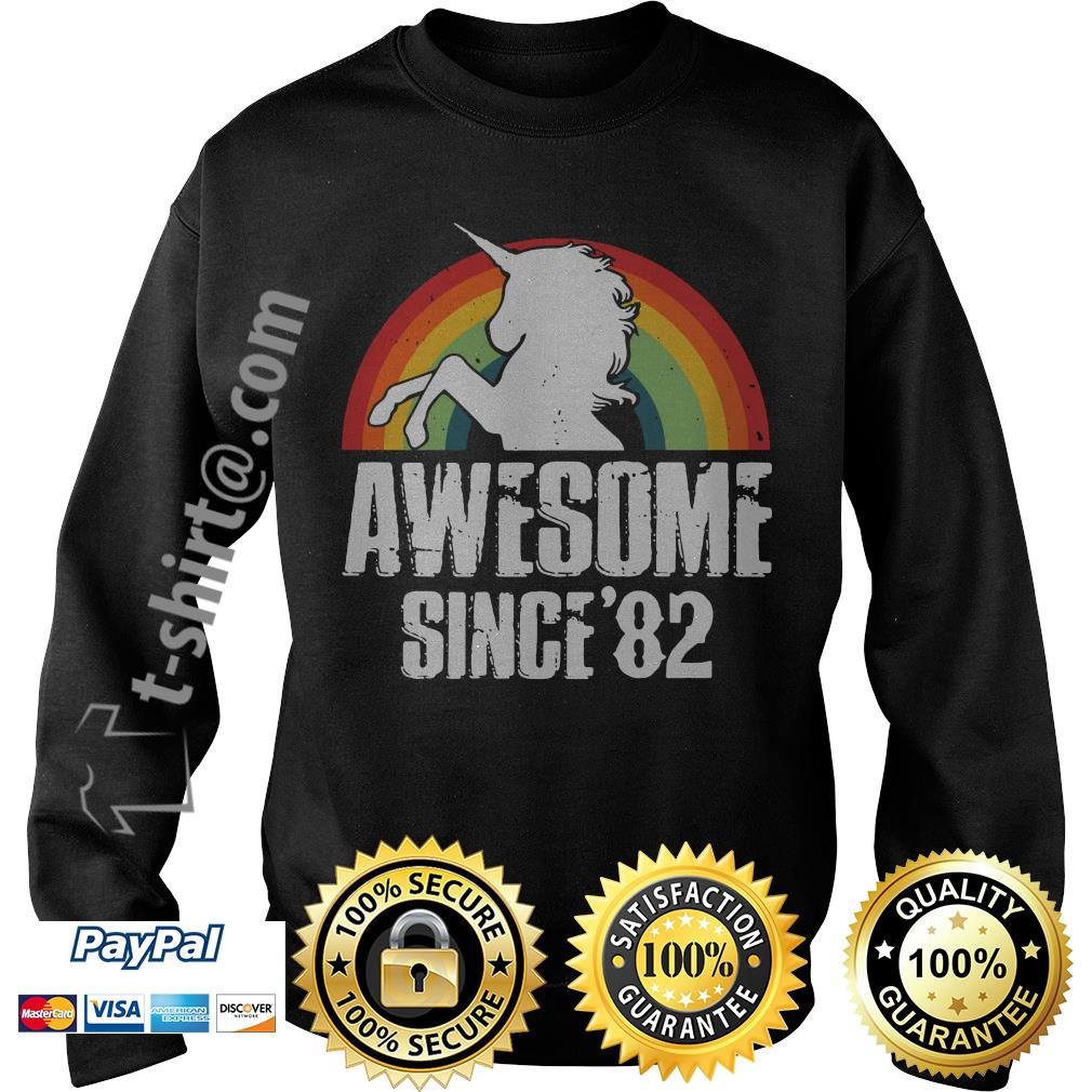 Rainbow Unicorn awesome since 1982 37th birthday Sweater