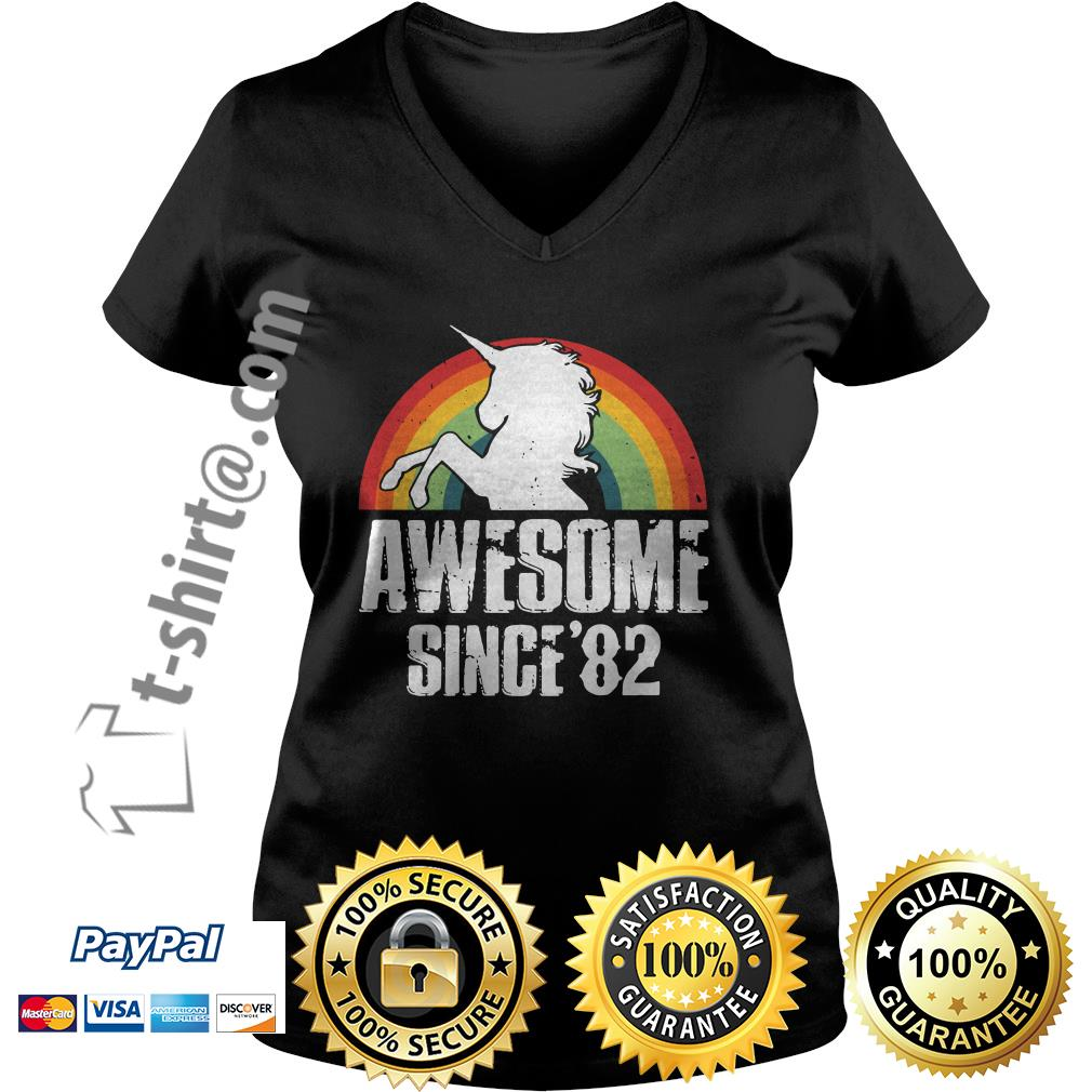 Rainbow Unicorn awesome since 1982 37th birthday V-neck T-shirt