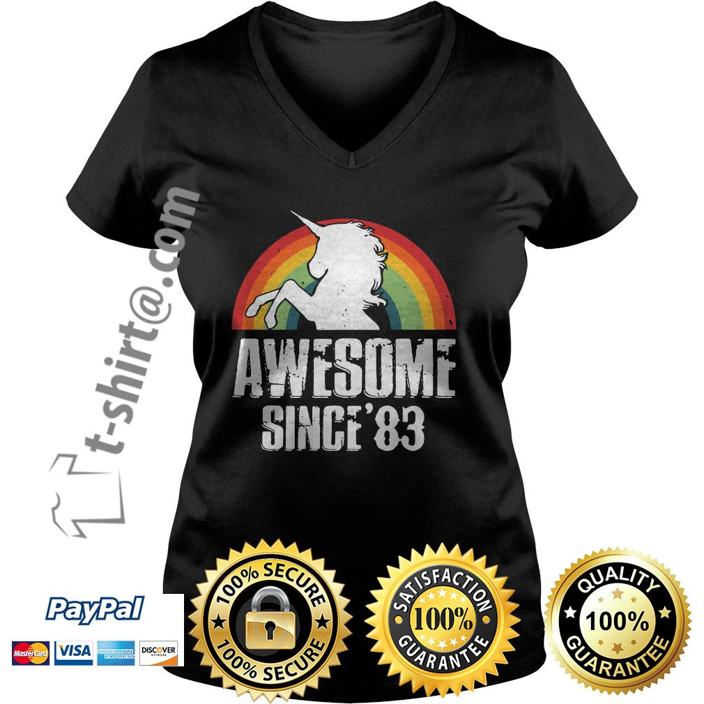 Rainbow Unicorn awesome since'83 V-neck T-shirt