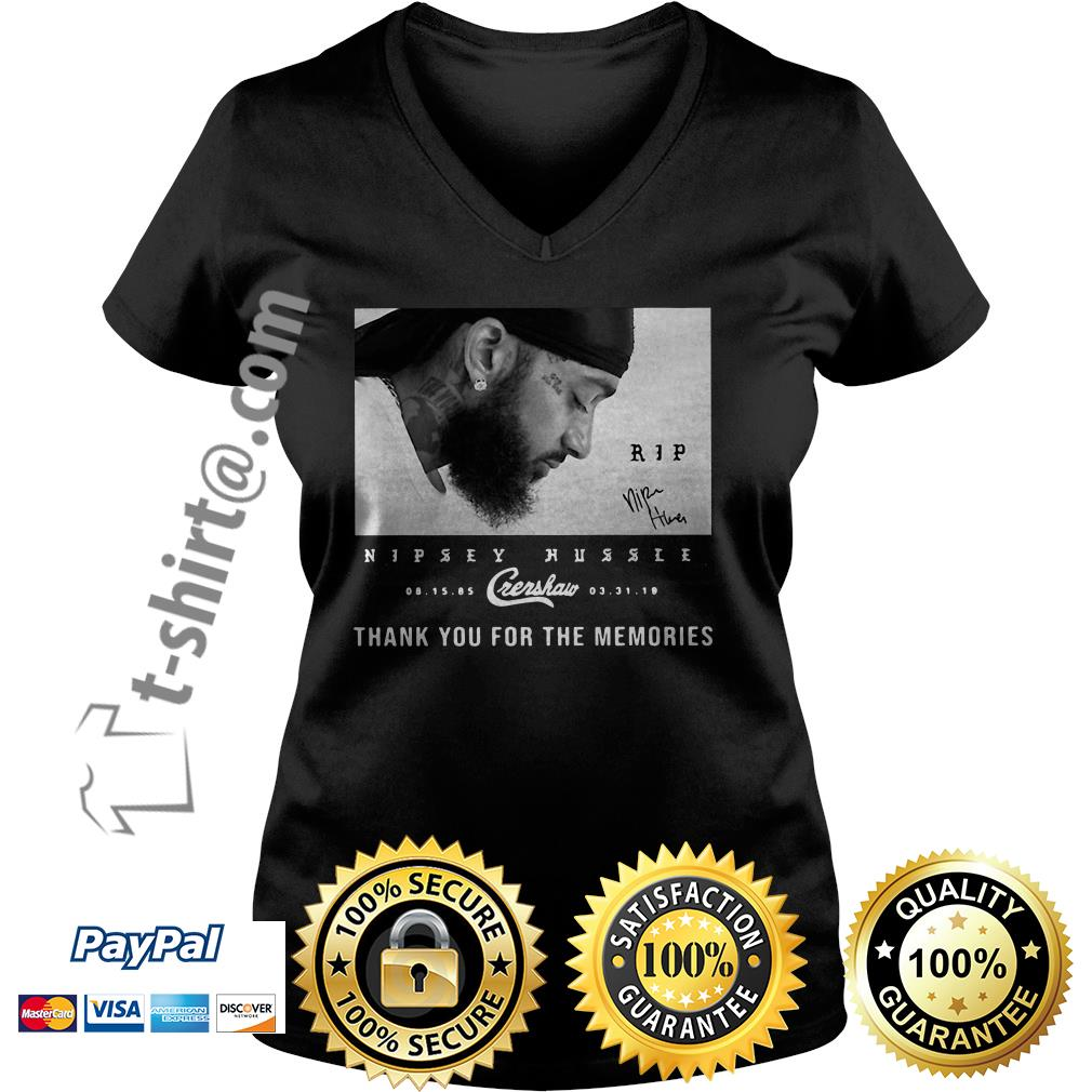 Rip Nipsey Hussle Crenshaw thank you for memories signature V-neck T-shirt