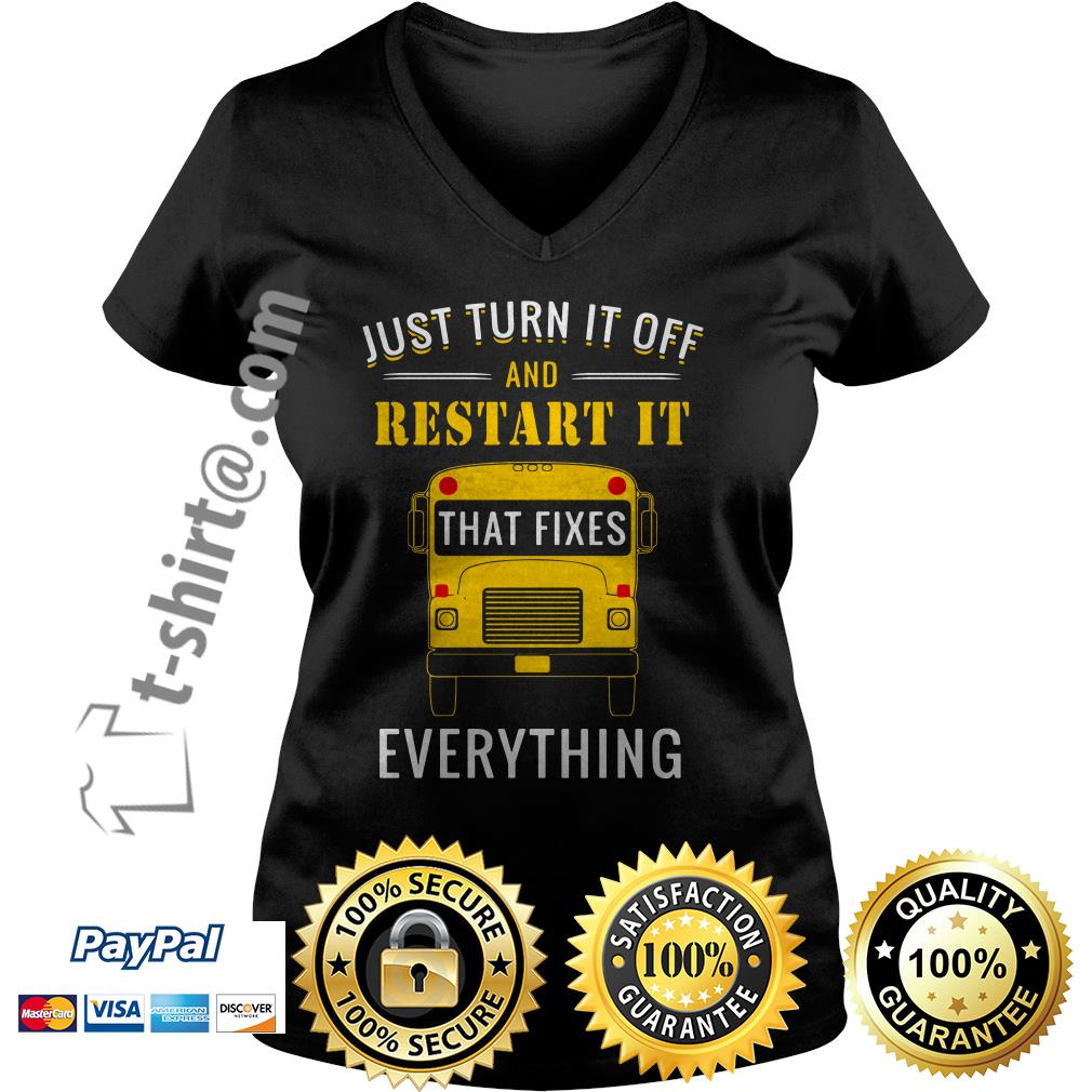 School bus just turn it off and restart it that fixes everything V-neck T-shirt