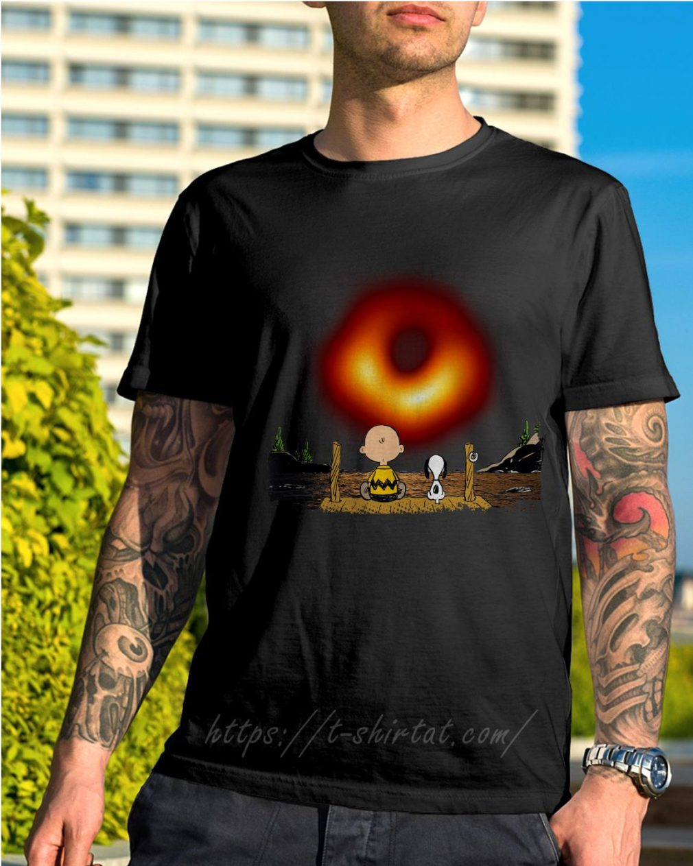 Snoopy and Charlie Brown lake watching black hole 2019 shirt
