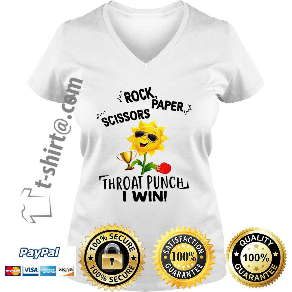 Sunflower rock paper scissors throat punch I win V-neck T-shirt