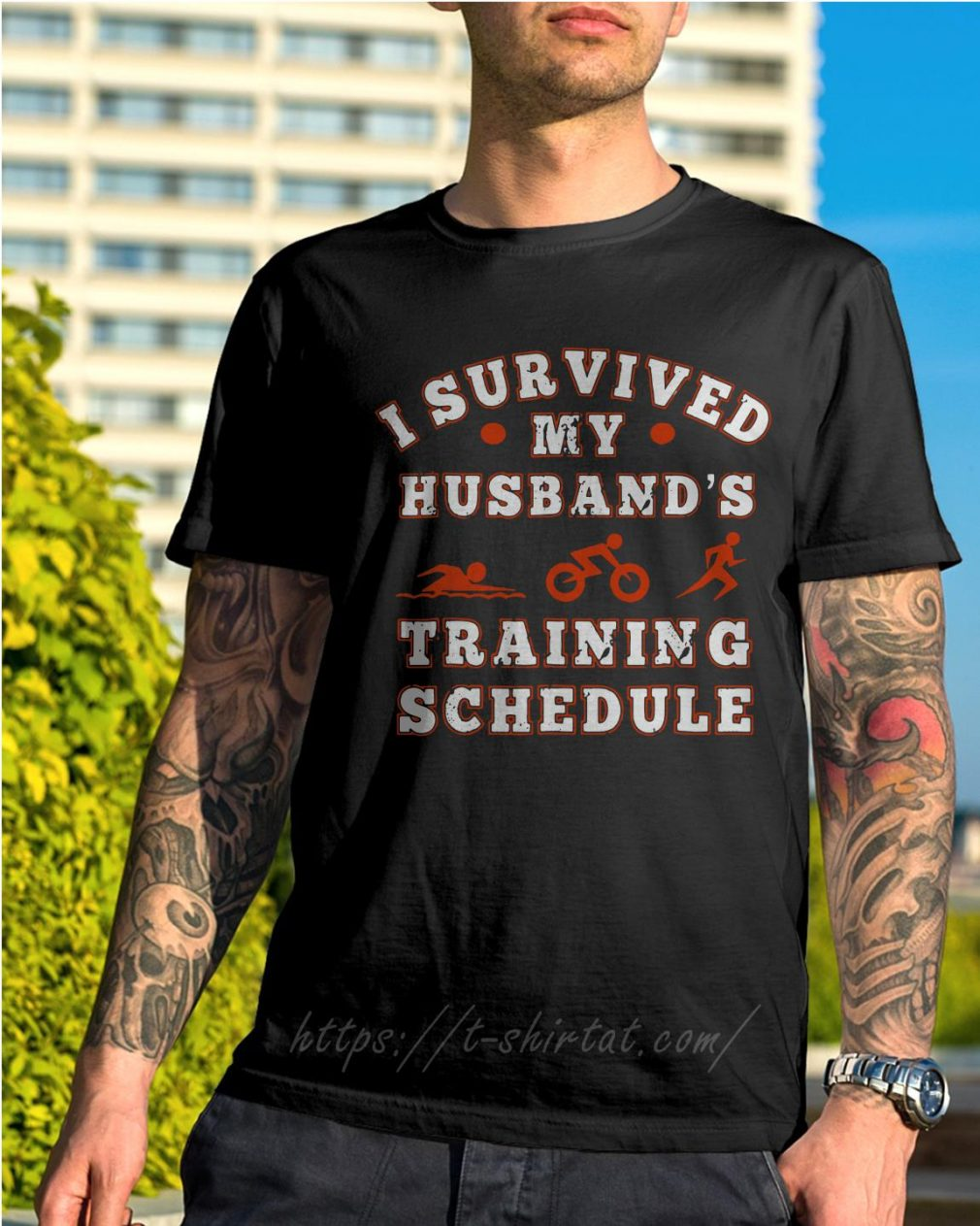 Swim bike run I survived my husband's training schedule shirt
