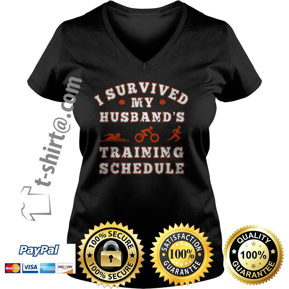 Swim bike run I survived my husband's training schedule V-neck T-shirt