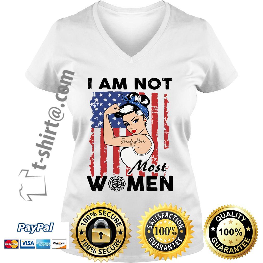 Tattoo girl I am not most women Firefighter logo flag America V-neck T-shirt