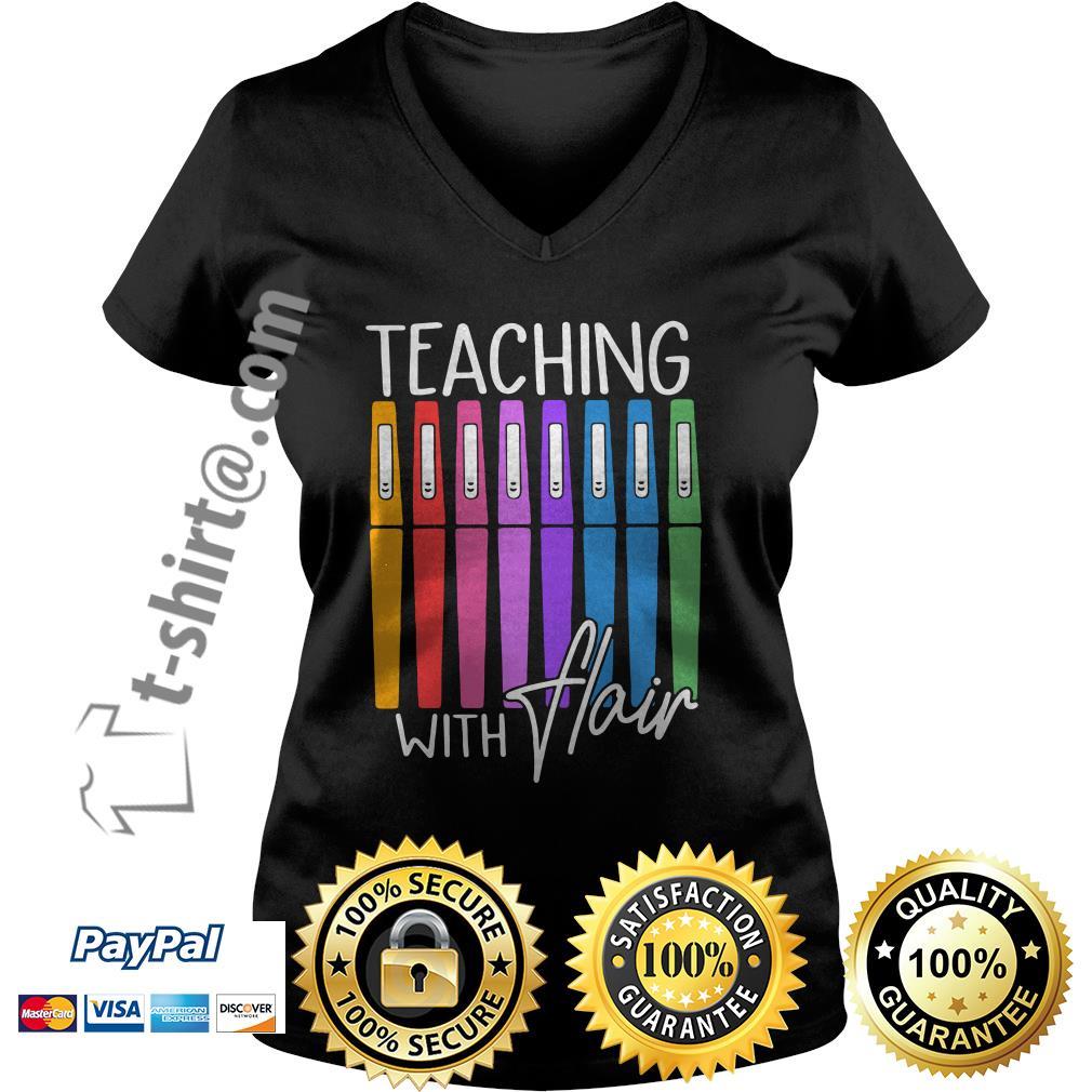 Teaching with flair V-neck T-shirt