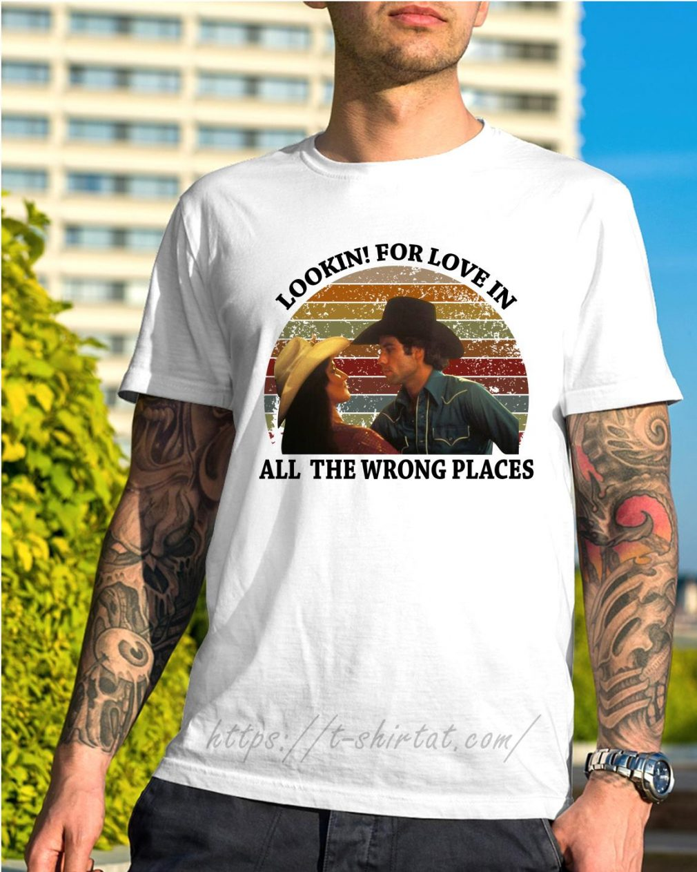 Urban Cowboy lookin for love in all the wrong places vintage shirt