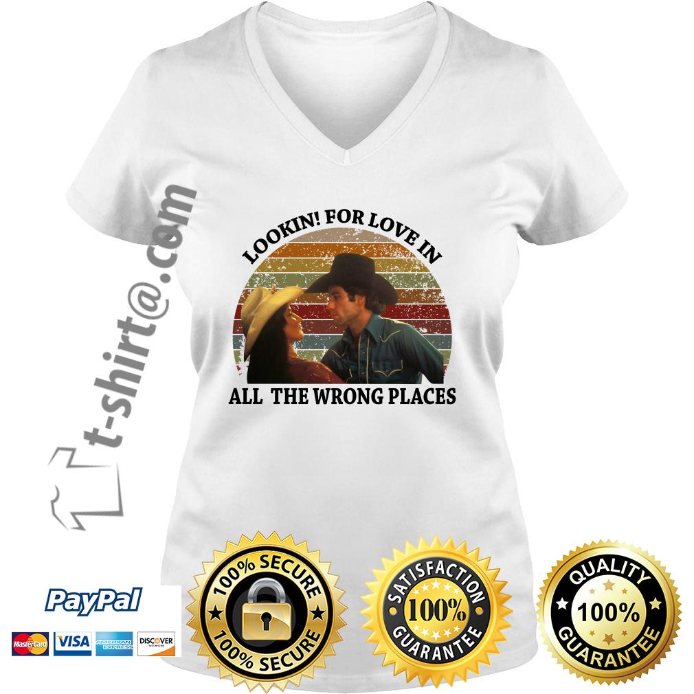 Urban Cowboy lookin for love in all the wrong places vintage V-neck T-shirt