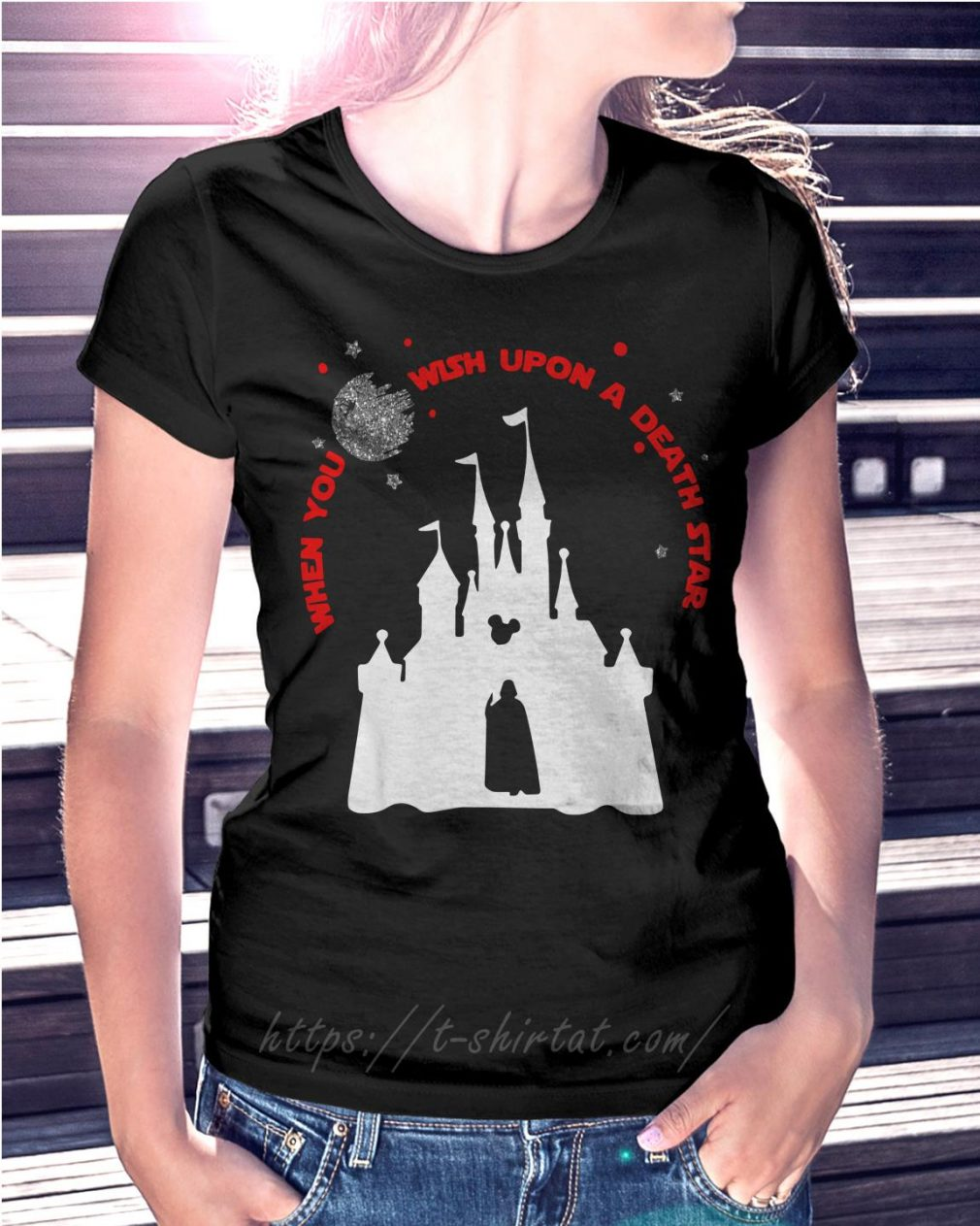 Vader Star wars and Castle Disney when you wish upon a death star