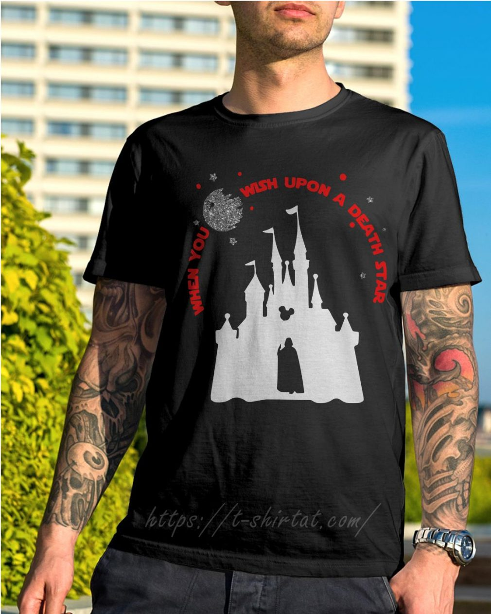 Vader Star wars and Castle Disney when you wish upon a death star shirt