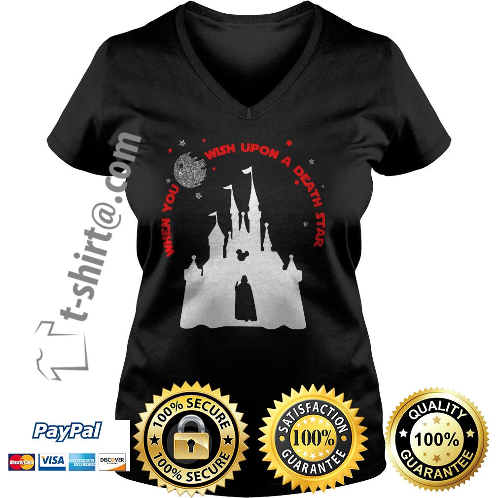 Vader Star wars and Castle Disney when you wish upon a death star V-neck T-shirt