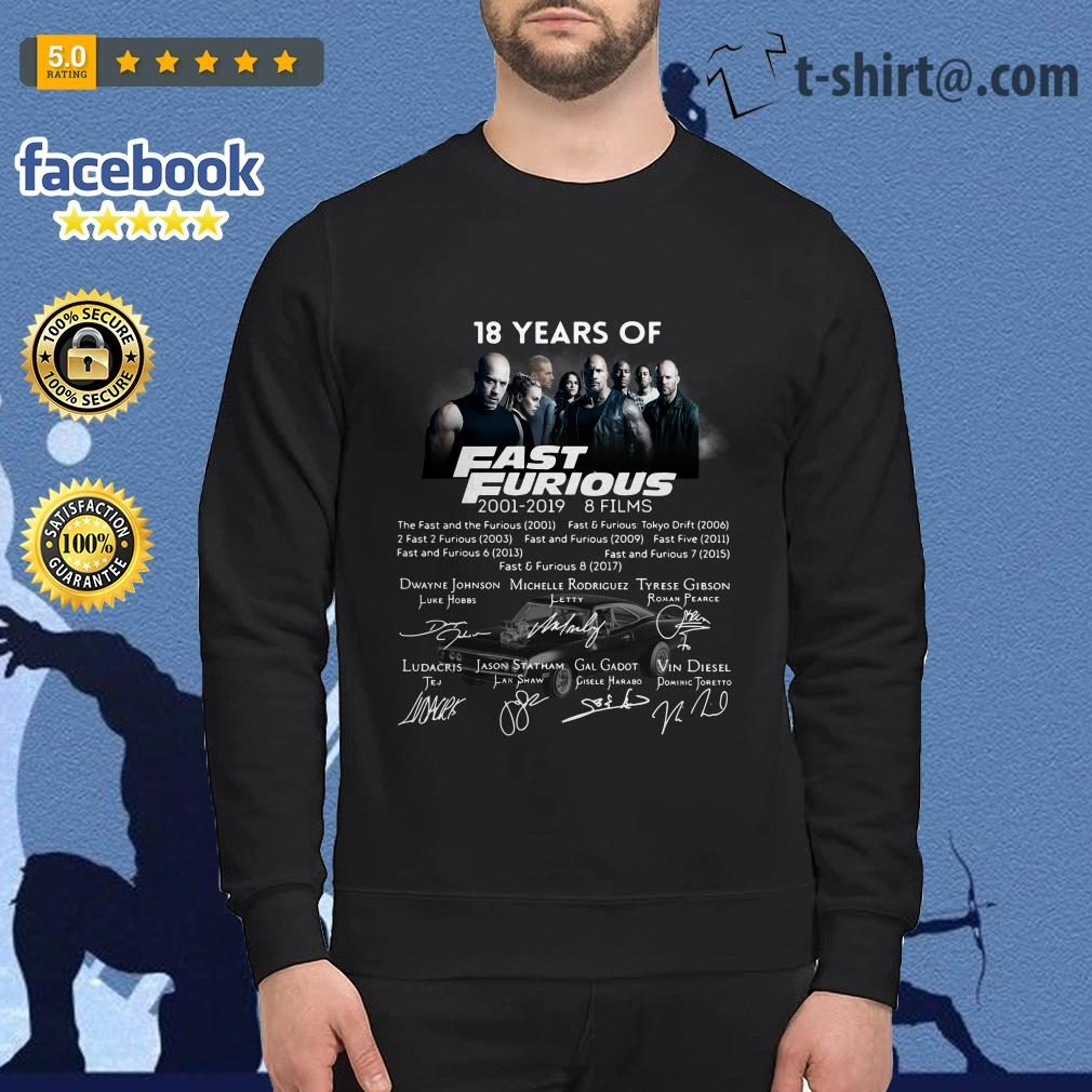 18 Years of Fast Furious 2001-2019 8 films signature Sweater