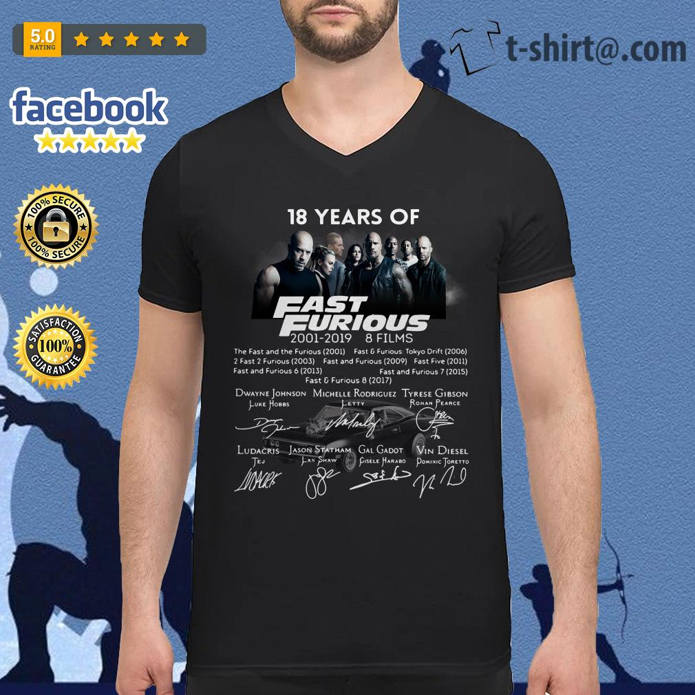 18 Years of Fast Furious 2001-2019 8 films signature V-neck T-shirt