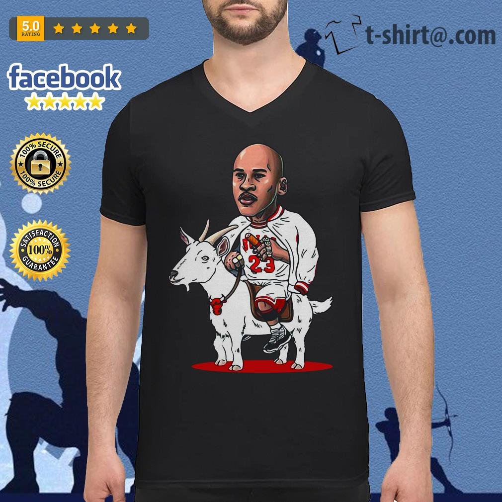23 Michael Jordan riding goat V-neck T-shirt