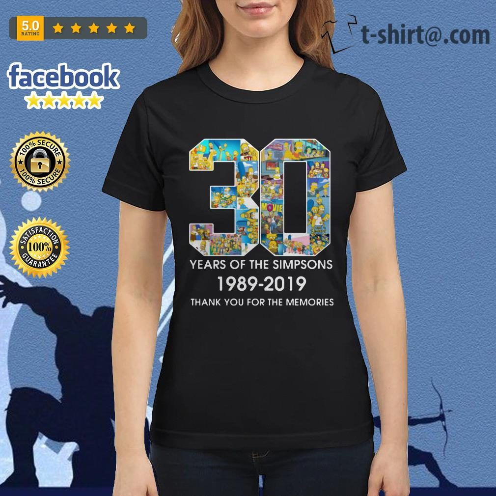 30 Years of The Simpsons 1989-2019 thank you for the memories Ladies Tee