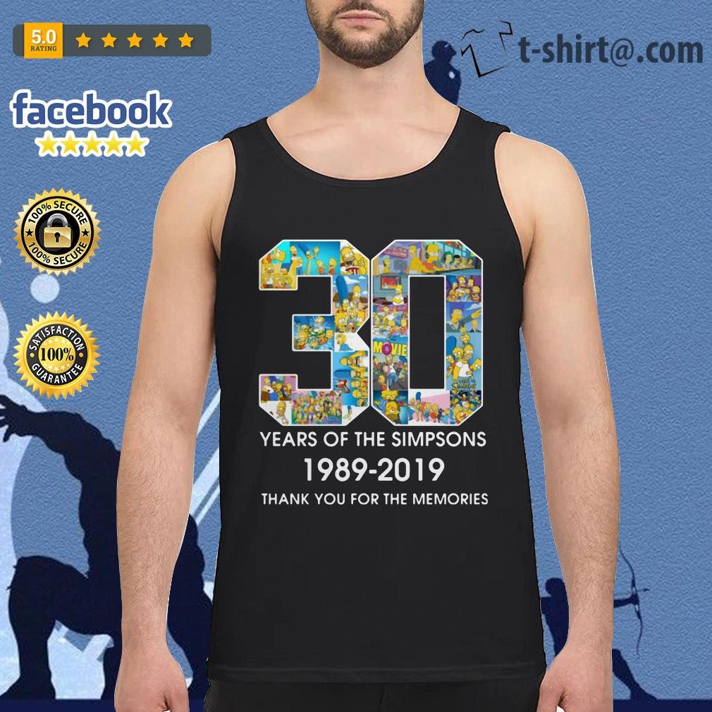 30 Years of The Simpsons 1989-2019 thank you for the memories Tank top