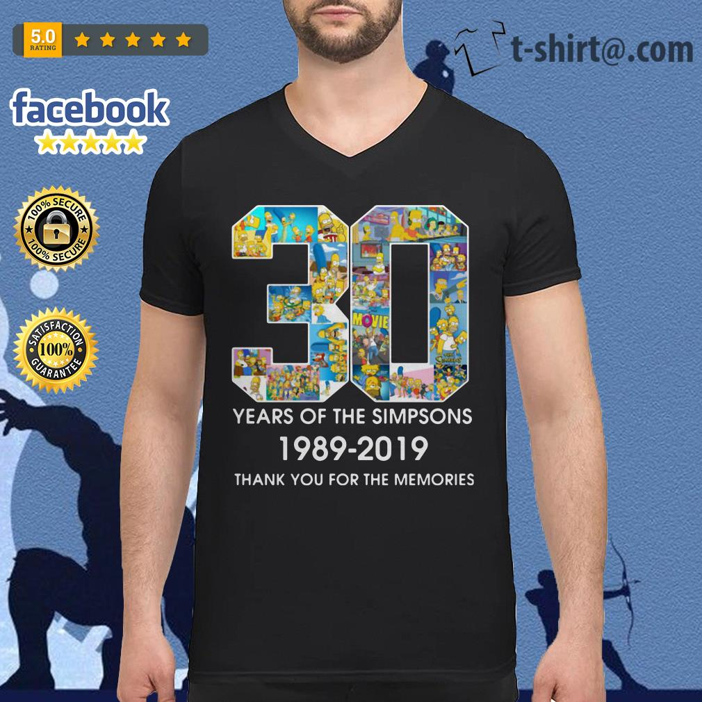 30 Years of The Simpsons 1989-2019 thank you for the memories V-neck t-shirt