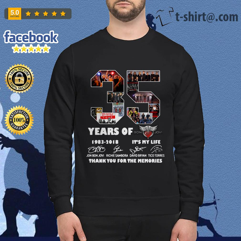35 Years of Bon Jovi 1983-2018 it's my life thank you for the memories signature Sweater