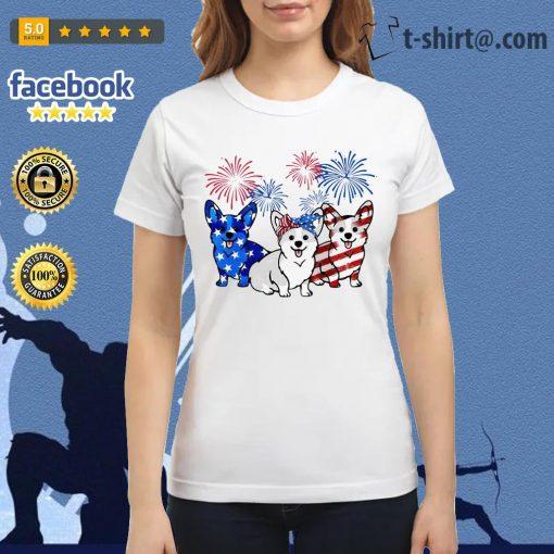 4th Of July three Corgi American flag Ladies tee
