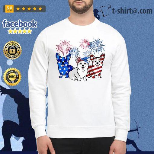 4th Of July three Corgi American flag Sweater