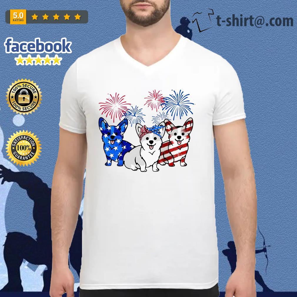 4th Of July three Corgi American flag V-neck t-shirt