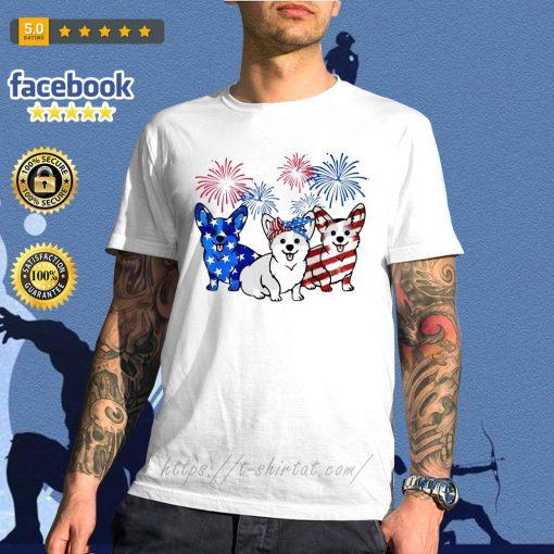 4th Of July three Corgi American flag shirt