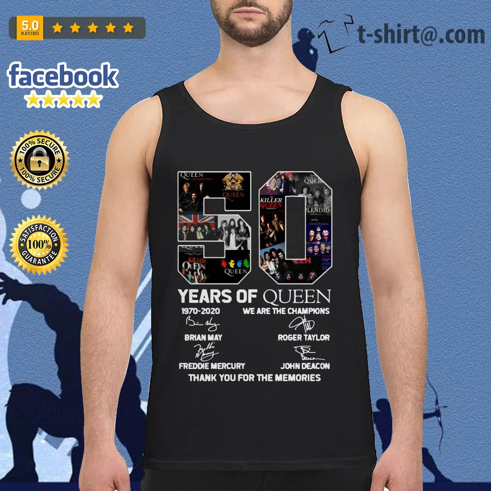 nouveau concept 4594c 2d43e 50 Years of Queen 1970-2020 we are the champions thank you for the memories  shirt