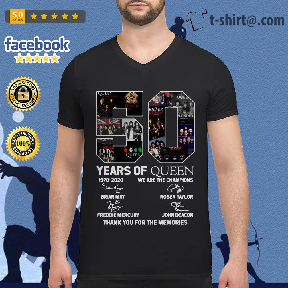50 Years of Queen 1970-2020 we are the champions thank you for the memories V-neck-t-shirt