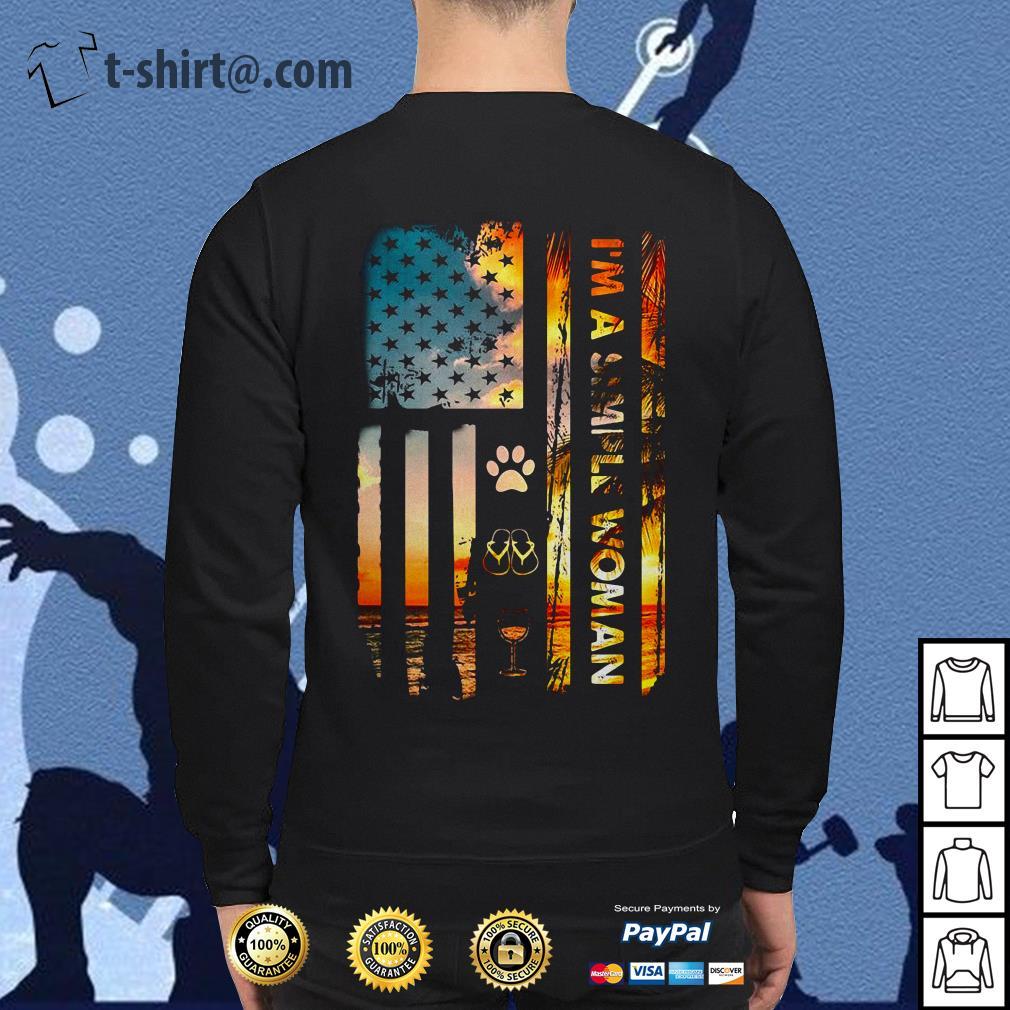 America flag I am a simple woman I like paw dog flip flop and wine Sweater