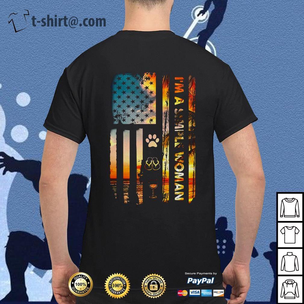America flag I am a simple woman I like paw dog flip flop and wine shirt
