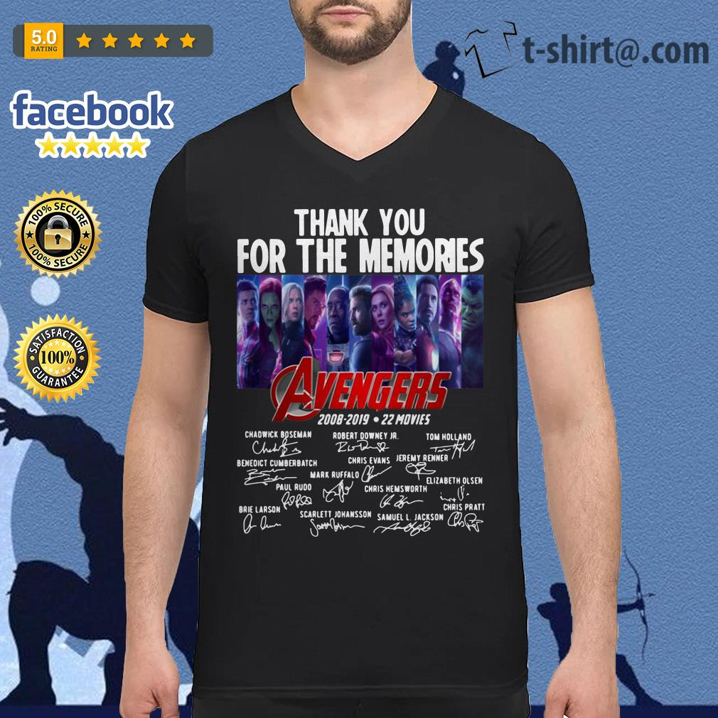 Avengers thank you for the memories 2008-2019 22 movies signature V-neck t-shirt