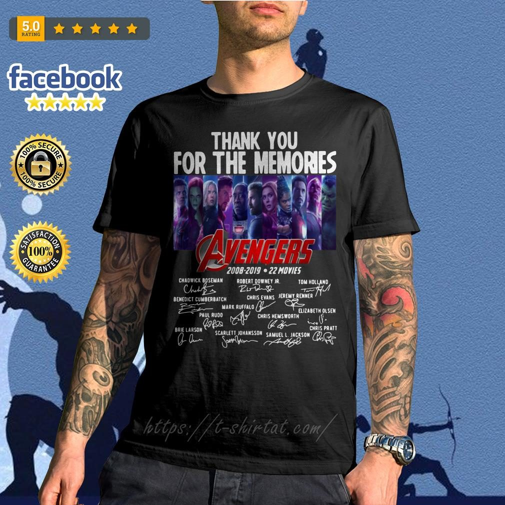 Avengers thank you for the memories 2008-2019 22 movies signature shirt