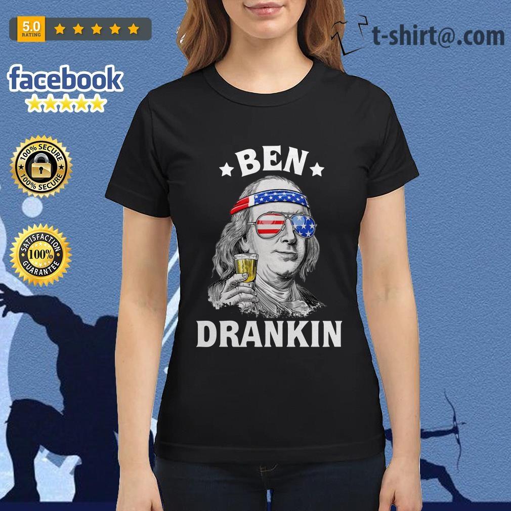 Ben Drankin Benjamin Franklin America flag Ladies-tee