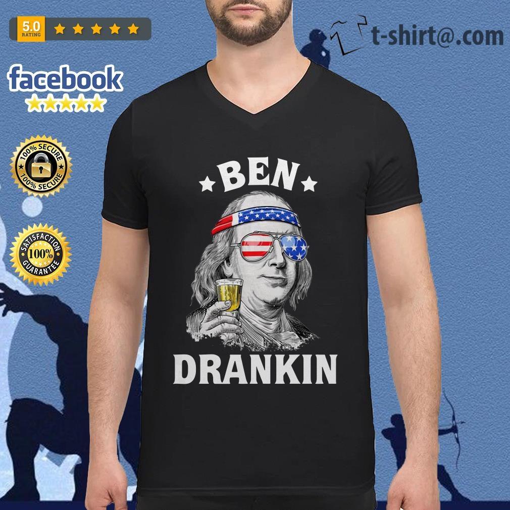 Ben Drankin Benjamin Franklin America flag V-neck T-shirt