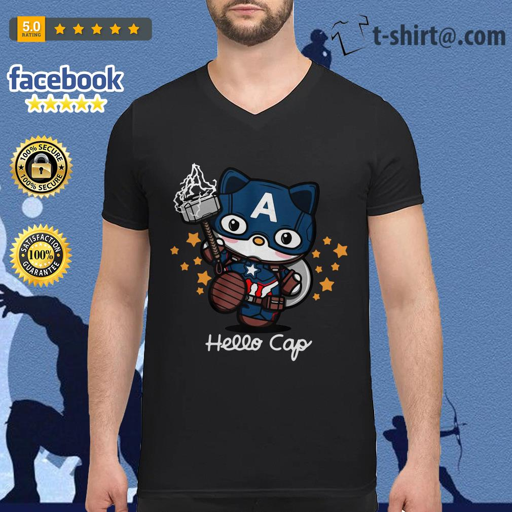 Captain America Hello Caps V-neck-t-shirt