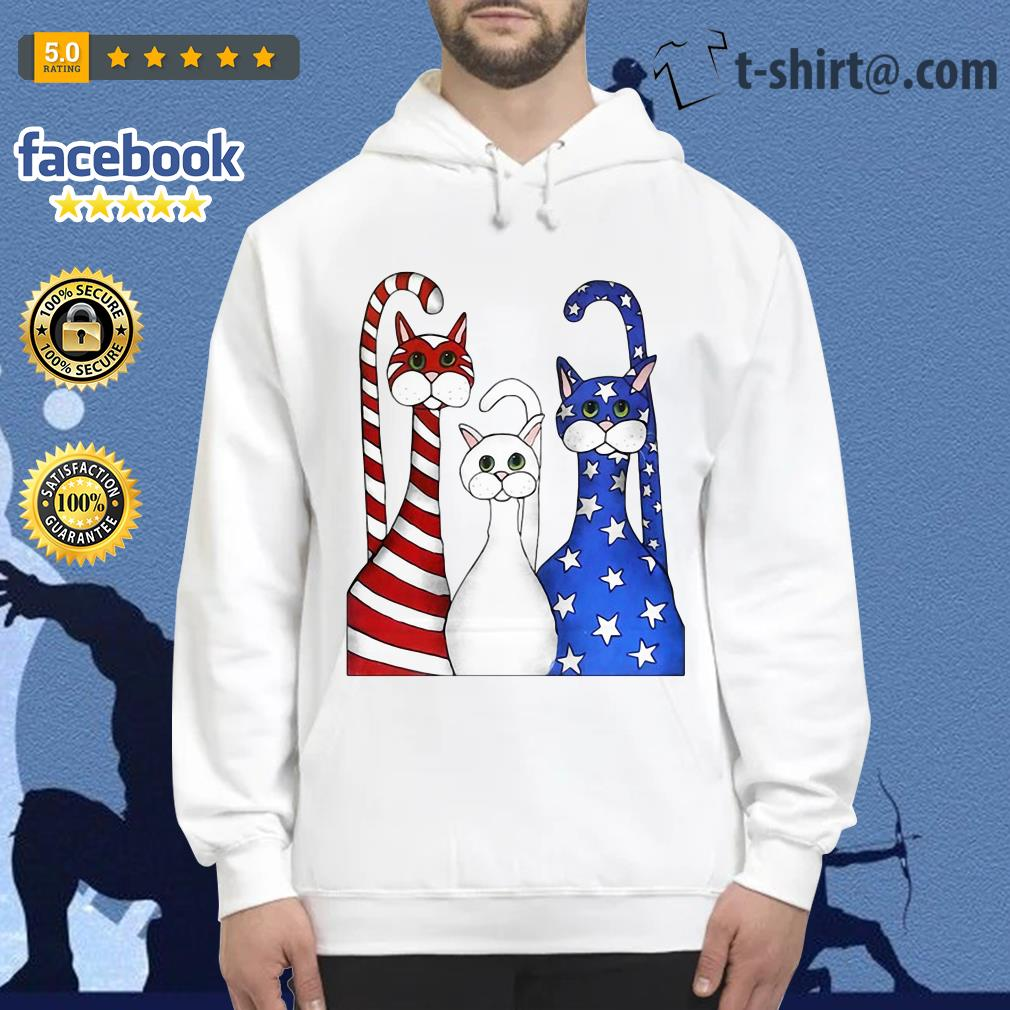 Cats red white and blue American flag Hoodie