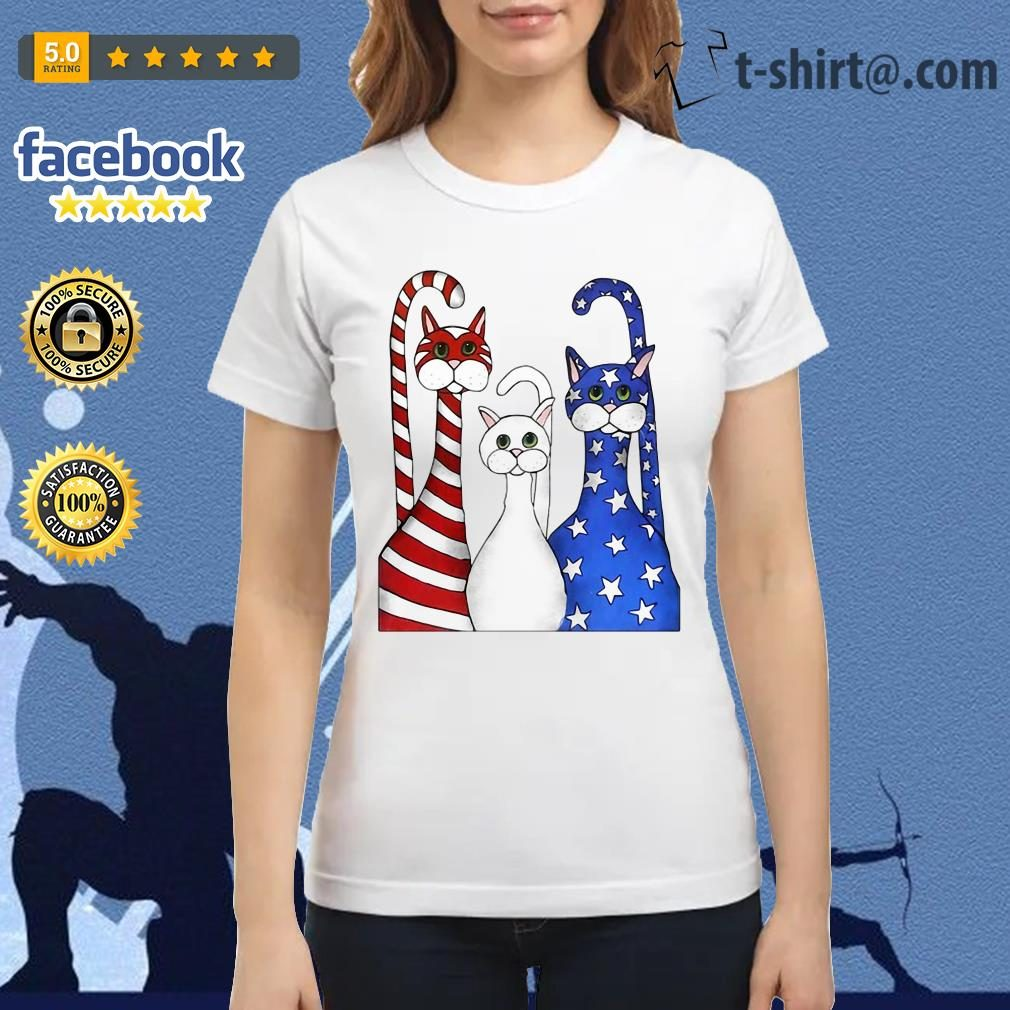 Cats red white and blue American flag Ladies Tee