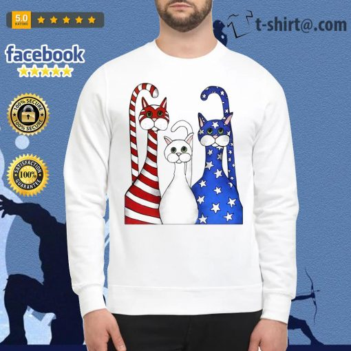 Cats red white and blue American flag Sweater